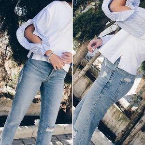 Zara Basic Z1975 mom Jean button fly sz 6